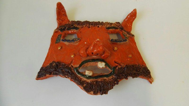 """Užgavėnių kaukė """"Oranžinis velnias""""1"""